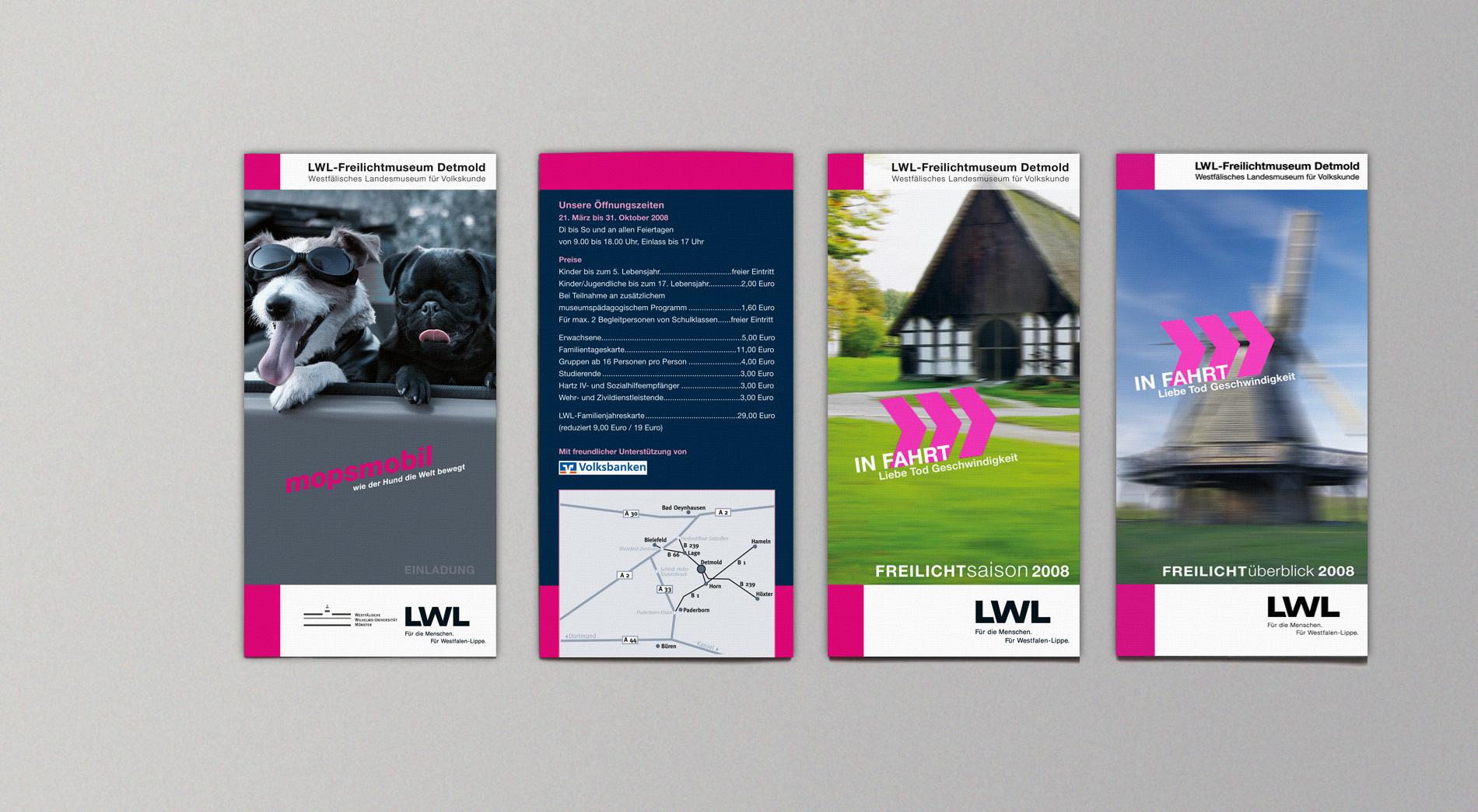 Diverse Flyer für das Themenjahr In Fahrt