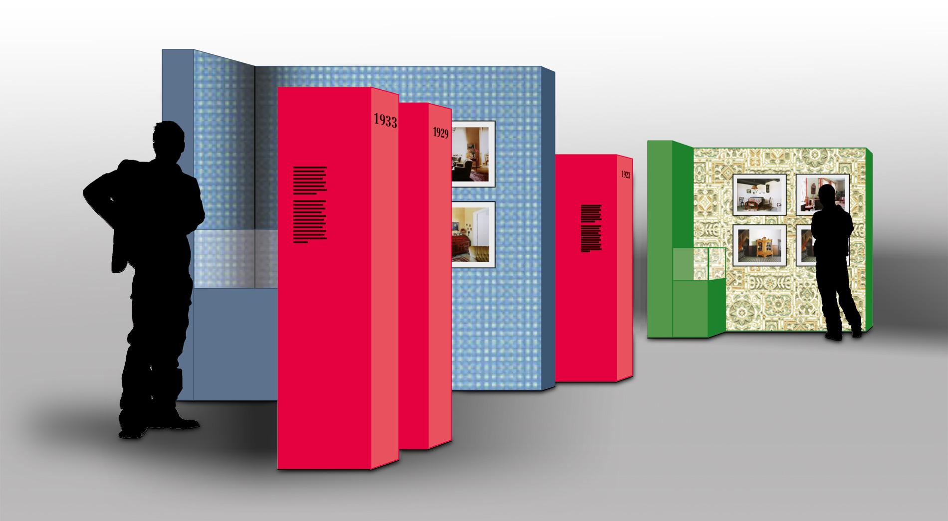 Kabinette mit Zeitstrahl. Wettbewerb AusstellungDeutsch/russisches Leben. Erinnerungsobjekte