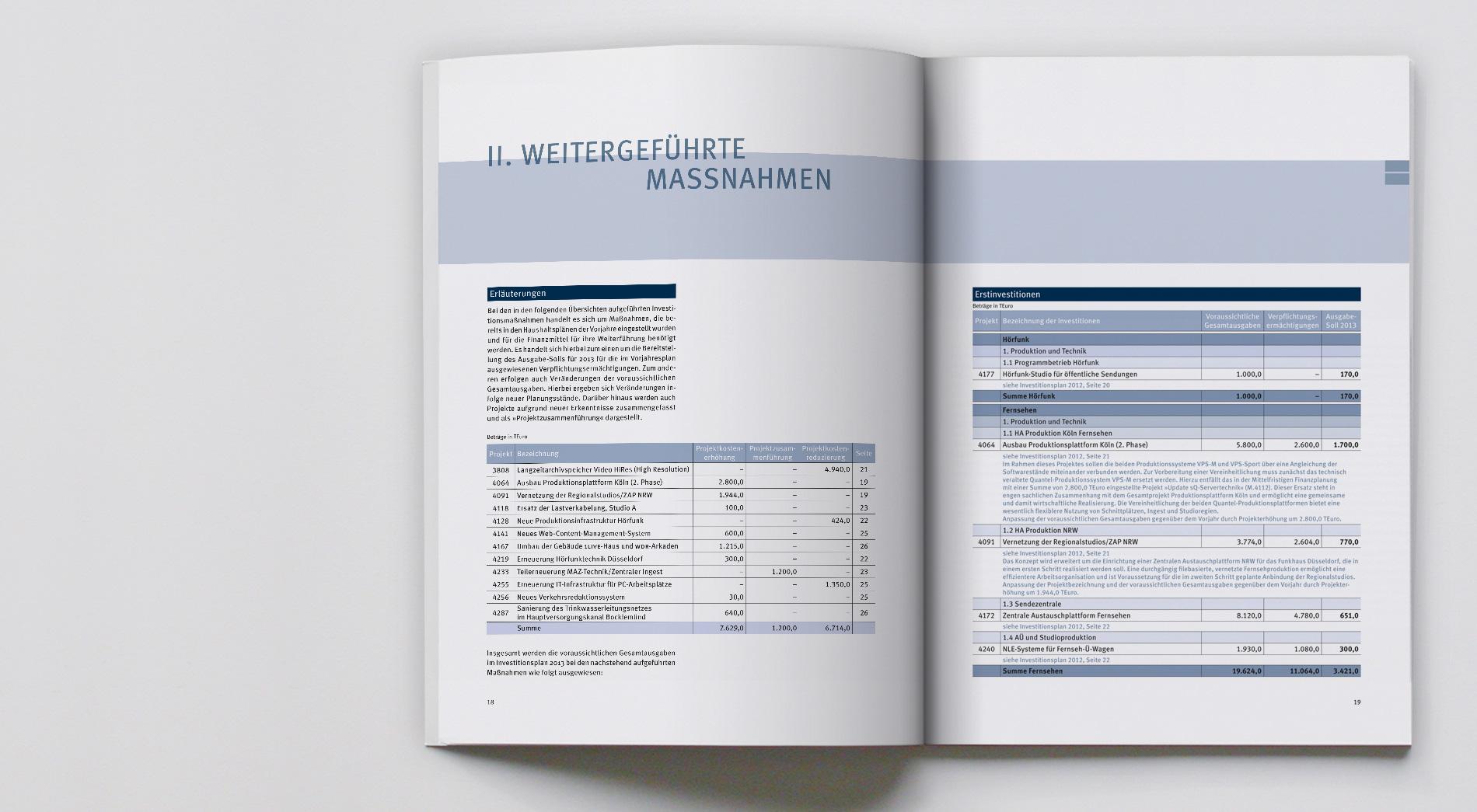 WDR Finanzpublikationen 2012, Investitionsplan 2013, Innenteil