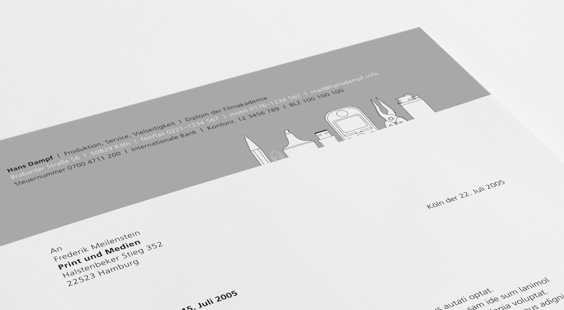 Briefpapier eines Produktioners