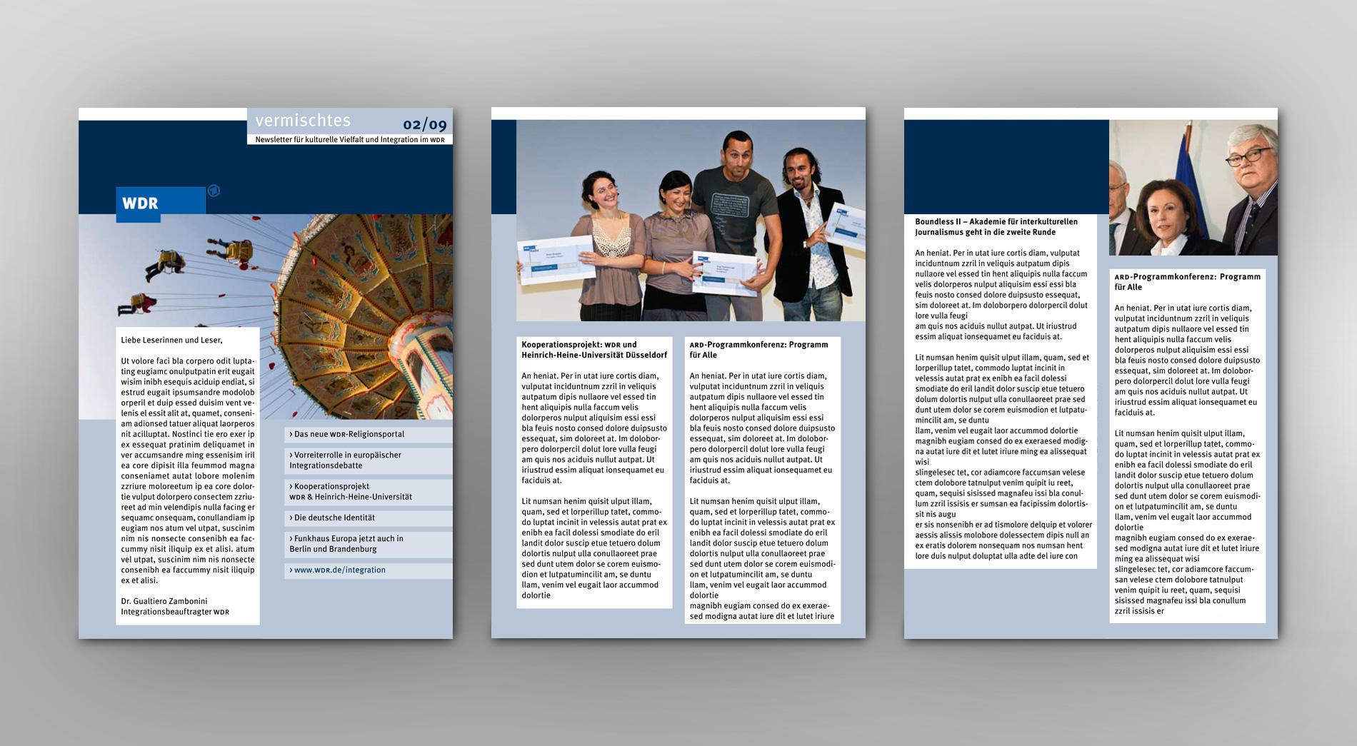 Entwurf WDR Newsletter für kulturelle Vielfalt und Integration