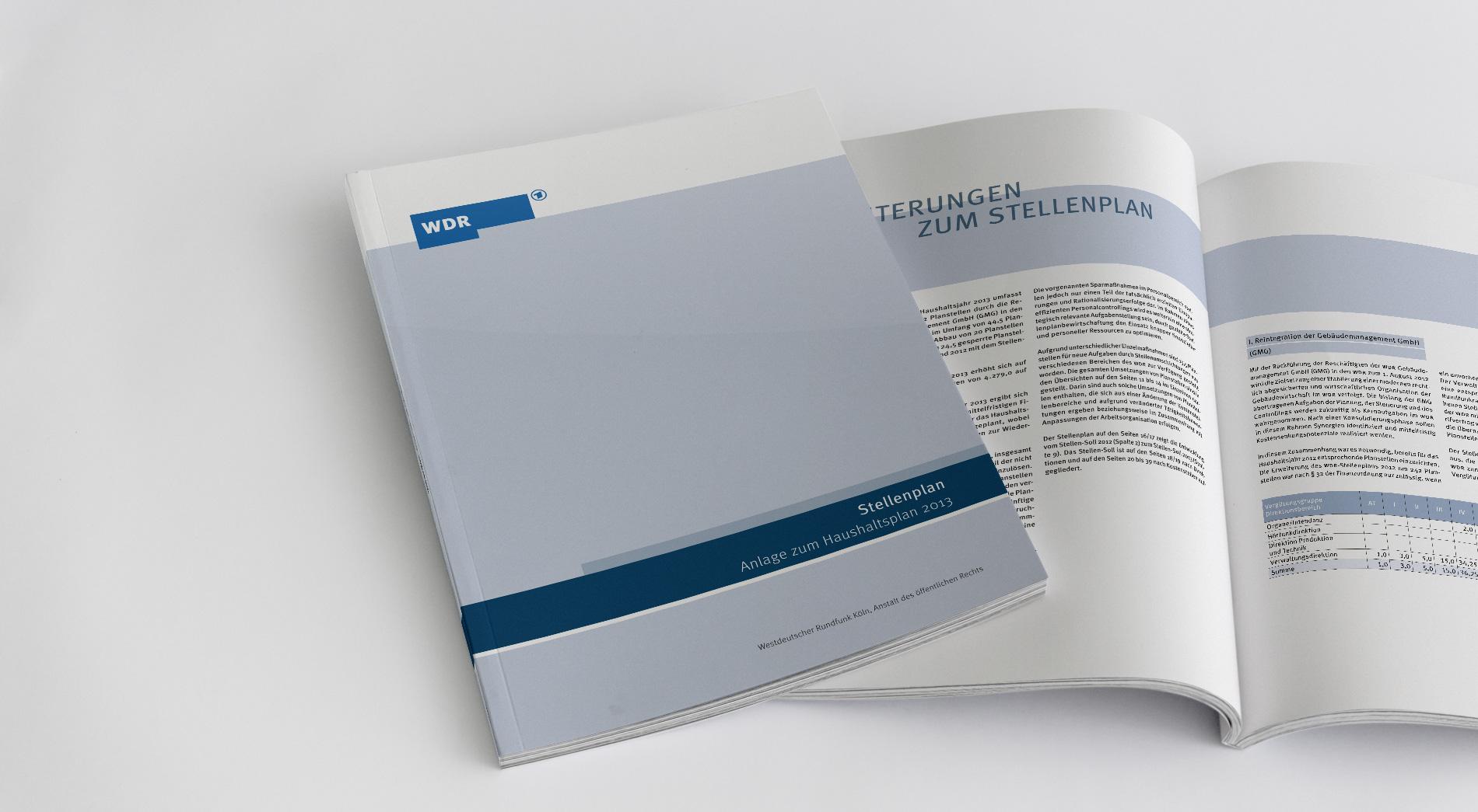 WDR Finanzpublikationen 2012, Stellenplan 2013, Titel