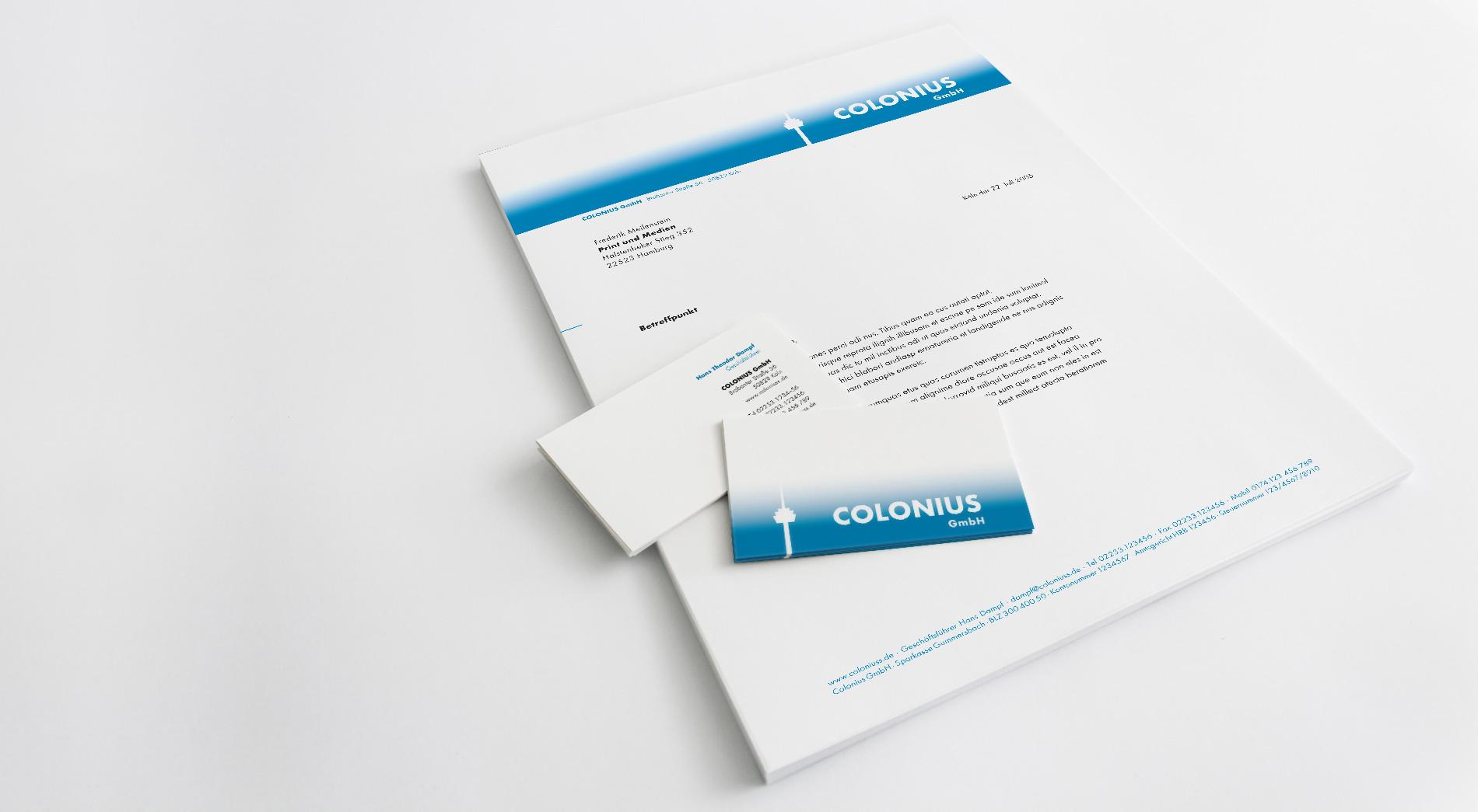 Brief und Visitenkarten Colonius